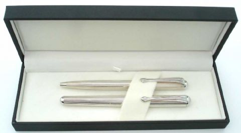 Canterbury Sterling Silver Ballpoint and Fountain Pen Set - Ladies Silver Pen Set